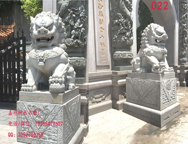 大门口摆放石狮子样式与寓意